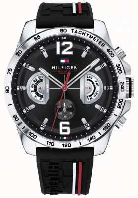 Tommy Hilfiger メンズデッカー腕時計ブラックダイヤルブラックラバーストラップ 1791473