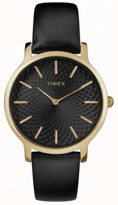 Timex レディーススカイライン34mmブラックレザーストラップブラックダイヤル TW2R36400