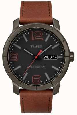 Timex Mens mod 44 tanレザーストラップブラックダイヤル TW2R64000