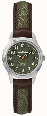 Timex フィールドミニブロレザーグリーンダイヤル TW4B12000