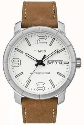 Timex Mens mod 44ベージュレザーストラップホワイトダイヤル TW2R64100