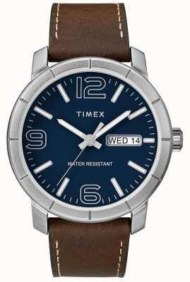Timex メンズmod 44ブラウンレザーストラップブルーダイヤル TW2R64200