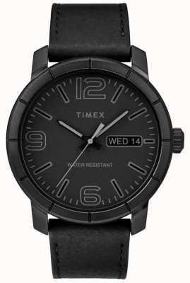 Timex Mens mod 44ブラックレザーストラップブラックダイヤル TW2R64300