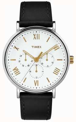 Timex メンズ41mmサウスビューブラックレザーストラップホワイトダイヤル TW2R80500