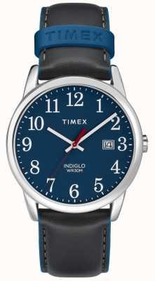 Timex メンズグレーレザーストラップブルーダイヤルメンズ38mm簡単リーダー TW2R62400