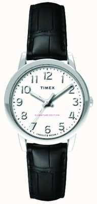 Timex レディース30mm簡単リーダーブラッククロコストラップホワイトダイヤル TW2R65300