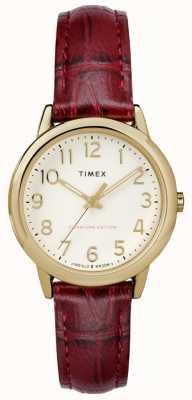 Timex レディース30mmの簡単な読者のブルゴーニュのクロコストラップクリームダイアル TW2R65400