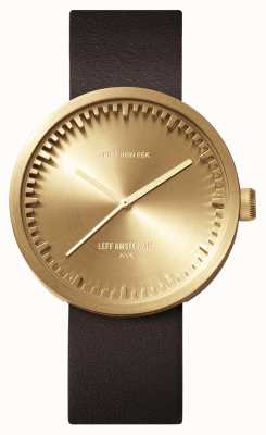 Leff Amsterdam チューブ時計d42真ちゅうケース茶色の革ストラップ LT72022