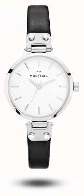 Mockberg アストリッドプチ黒レザーストラップホワイトダイヤル MO202