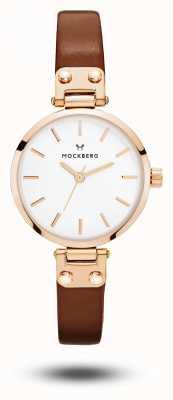 Mockberg ヴィルデの小柄な茶色のストラップのホワイトダイヤル MO209