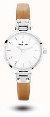 Mockberg Wera小柄なブラウンレザーストラップホワイトダイヤル MO1404