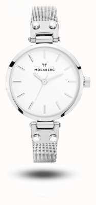 Mockberg エリーゼ小柄ステンレスメッシュブレスレットホワイトダイヤル MO402