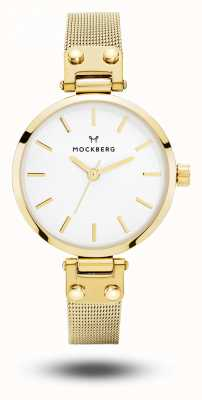 Mockberg ウィメンズリヴィアプチゴールドメッシュブレスレットホワイトダイヤル MO401