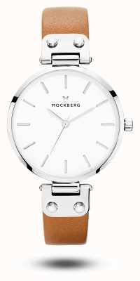 Mockberg Weraブラウンレザーストラップホワイトダイヤル MO1006