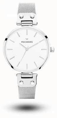 Mockberg エリーゼステンレスメッシュブレスレットホワイトダイヤル MO1602