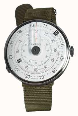 Klokers Klok 01黒い腕時計の苔緑色の織物の単一のストラップ KLOK-01-D2+KLINK-03-MC2