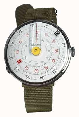 Klokers Klok 01黄色の腕時計の苔の緑色の繊維シングルストラップ KLOK-01-D1+KLINK-03-MC2