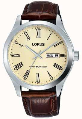 Lorus ステンレススチールケースレザーブレスレットローマ数字クリーム RXN53DX9