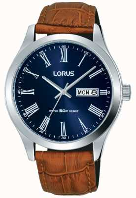 Lorus ブラウンレザーストラップダークブルーダイヤル日付と日表示 RXN55DX9
