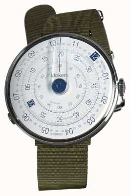 Klokers Klok 01青い腕時計の苔緑色の織物の単一のストラップ KLOK-01-D4.1+KLINK-03-MC2
