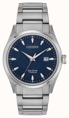 Citizen メンズブルーダイヤルシルバートーンスーパーチタンブレスレット BM7360-82L