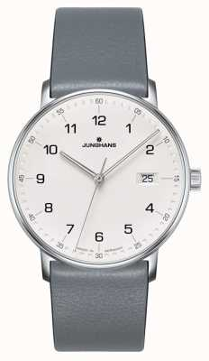 Junghans フォームクォーツグレーのカーフスキンストラップウォッチ 041/4885.00