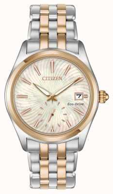 Citizen 女性のシルエット2つのトーン真珠の渦巻きダイヤモンド日付 EV1036-51Y