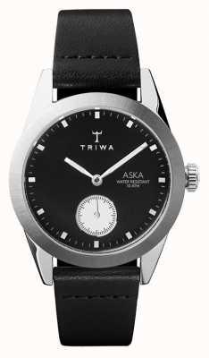 Triwa スレートシルバーダイヤルステンレススティールケースブラックレザー AKST107-SS010212