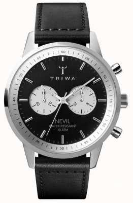 Triwa スレートネヴィルクロノグラフブラックダイヤルブラックレザーストラップ NEST118-SC010112