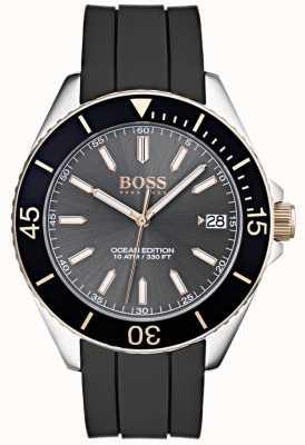 Hugo Boss オーシャンエディショングレーダイヤルデイト表示ブラックラバーストラップ 1513558