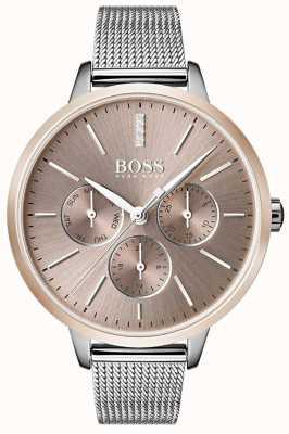 Boss ブラックシンフォニーデイ&デイト表示ローズゴールドケースメッシュストラップ 1502423