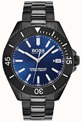 Boss オーシャンエディションブルーダイヤル日付表示ブラックIPブレスレット 1513559