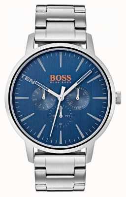 Hugo Boss Orange ブルーダイヤル日&日付表示ステンレススチールブレスレット 1550067