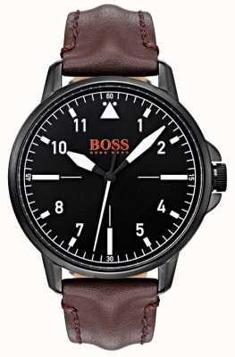 Hugo Boss Orange ブラックダイヤルダークブラウンレザーストラップブラックipコートケース 1550062