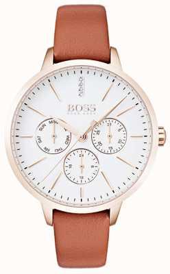 Hugo Boss 白いダイヤルの日&日付表示は、ゴールドケースのタン革 1502420