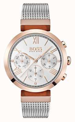 Hugo Boss シルバーダイヤルの日&日付表示ローマ数字メッシュブレスレット 1502427