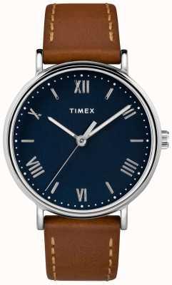 Timex メンズサウスビュー41ミリメートルtanレザーストラップブルーダイヤル TW2R63900D7PF