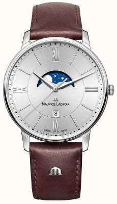 Maurice Lacroix Mens elirosムーンフェイズブラウンレザーストラップシルバーダイヤル EL1108-SS001-110-1