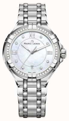 Maurice Lacroix 女性のaikonパールダイヤルのステンレス鋼のブレスレットの母 AI1006-SD502-170-1