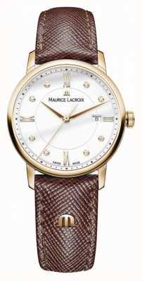 Maurice Lacroix レディースelirosブラウンレザーストラップゴールドメッキケース EL1094-PVP01-150-1