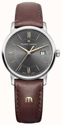 Maurice Lacroix レディースelirosブラウンレザーストラップブラックダイヤルゴールドアクセント EL1094-SS001-311-1