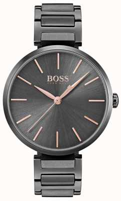 Hugo Boss Womens allusion腕時計ブラック鉄メッキ鋼 1502416