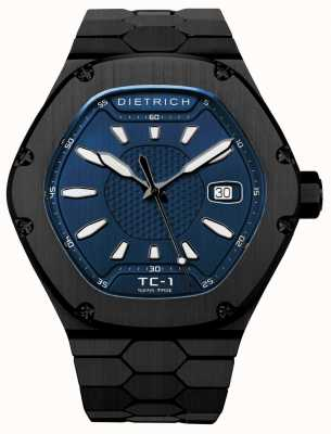 Dietrich 時間コンパニオン自動ブラックPvdブルーダイヤル TC-1 PVD BLUE