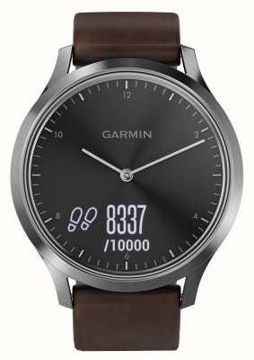 Garmin Vivomove hrプレミアムアクティビティトラッカースチール/レザー 010-01850-04