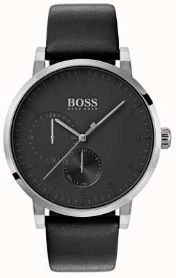 Boss メンズ酸素オールブラックウォッチレザーストラップサンレイダイヤル 1513594