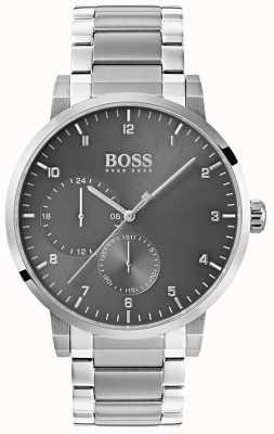 Hugo Boss メンズ酸素グレー腕時計ステンレススチールブレスレットサンレイダイヤル 1513596