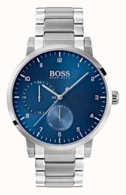 Hugo Boss メンズ酸素ブルー腕時計ステンレススチールブレスレットサンレイダイヤル 1513597