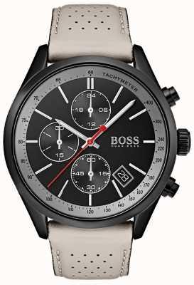 Boss メンズグランプリ腕時計ブラッククロノグラフグレーレザーストラップ 1513562