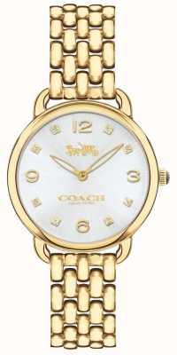 Coach レディースデラックススリムゴールドトーンブレスレット腕時計シルバーダイヤル 14502782