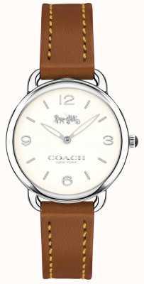 Coach レディースデラックススリムブラウンレザーストラップ腕時計ホワイトダイヤル 14502789